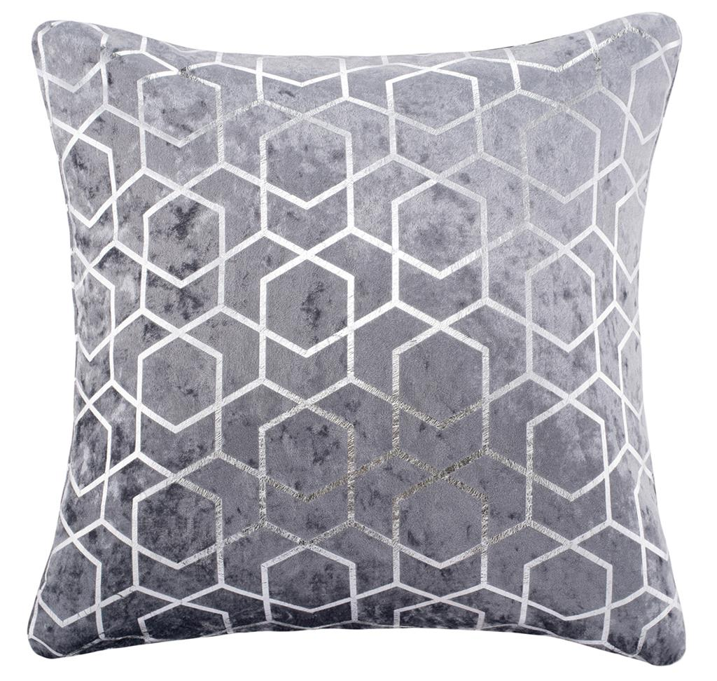 Silver & Grey Sparkle Metallic Foil Velvet Geometric 18 inch Cushion Cover