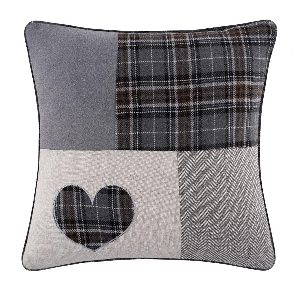 Patchwork Tartan Heart 18 inch / 45 cm Grey & Black Cushion Cover