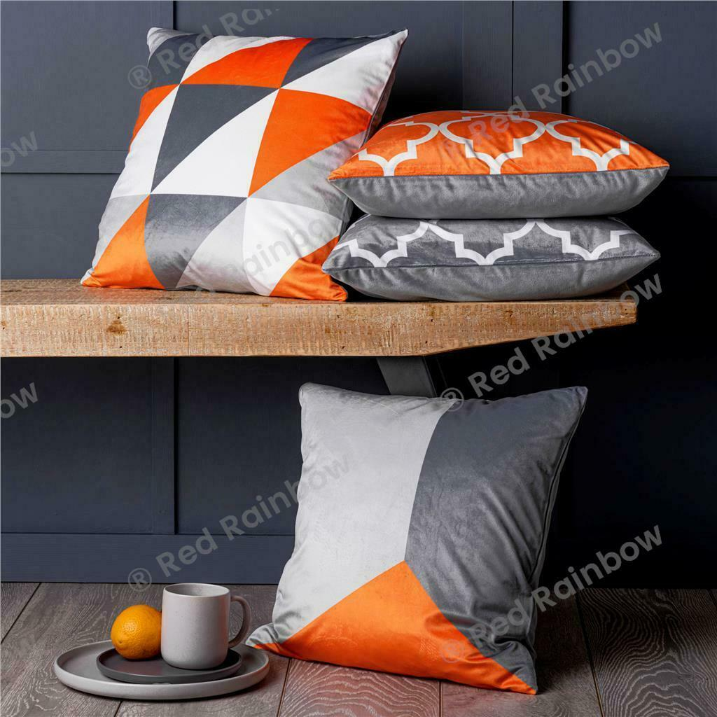 Set of 4 Designer Orange & Grey Geometric Collection 18 inch Cushion Covers