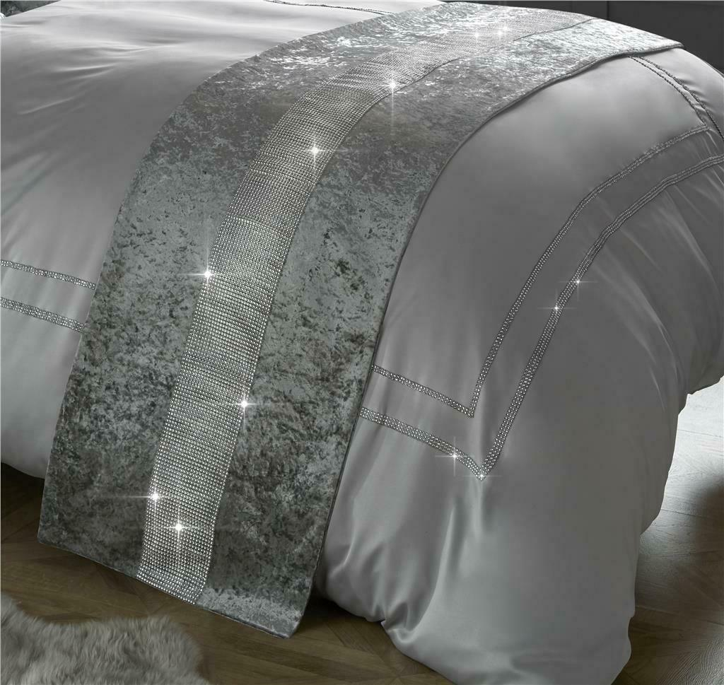 Diamante & Crushed Velvet Bed Runner & Cushion Cover Sparkle Sets Silver / Grey