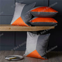 Load image into Gallery viewer, Set of 4 Designer Orange & Grey Geometric Collection 18 inch Cushion Covers