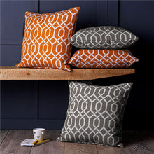 Load image into Gallery viewer, Set of 4 Orange & Grey Chenille Geometric Design 18 inch / 45 cm Cushion Covers