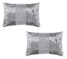 Load image into Gallery viewer, Diamante & Crushed Velvet Bed Runner & Cushion Cover Sparkle Sets Silver / Grey