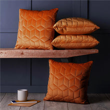 "Load image into Gallery viewer, Set of 4 Quilted Luxury Velvet Geometric 18"" Cushion Covers Orange & Grey"