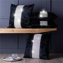 "Load image into Gallery viewer, Set of 4 Luxury Diamante Sparkle Crushed Velvet 18"" Cushion Covers"