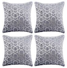 Load image into Gallery viewer, Set of 4 Metallic Geometric Crushed Velvet Blush Pink & Silver Cushion Covers