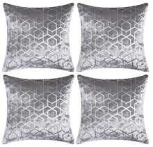 "Load image into Gallery viewer, Set of 4 Silver & Grey Geometric Sparkle Foil Velvet 18"" Cushion Covers"