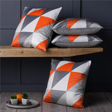 "Load image into Gallery viewer, Set of 4 Orange & Grey Geometric 18"" Cushion Covers Beautiful Super Soft Fabric!"