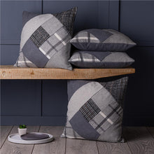 "Load image into Gallery viewer, Set of 4 Tartan & Herringbone Square Patchwork Grey & Black 18"" / 45 cm Cushion Covers"