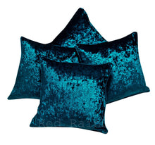 Load image into Gallery viewer, Set of 4 Luxury Crushed Velvet Cushion Covers Piped Edges 18 inch ® Red Rainbow