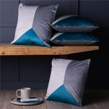 "Load image into Gallery viewer, Set of 4 Teal Blue & Grey Geometric 18"" Cushion Covers Beautiful Soft Fabric!"