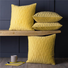 "Load image into Gallery viewer, Set of 4 Quilted Luxury Velvet Geometric 18"" Cushion Covers Yellow Ochre & Grey"