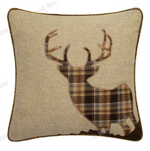 "Load image into Gallery viewer, Tartan 18"" Brown Latte Check Cushion Cover Highland Stag, Heart Hare"