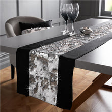 "Load image into Gallery viewer, Mermaid Sequin Sparkle Table Runner Silver / Grey or Black 72"" or Long 90"""