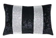Load image into Gallery viewer, Luxury Black & Silver Crushed Velvet Glitter Stripes Sparkle Cushion Cover