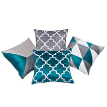 "Load image into Gallery viewer, Collection of 4 Grey Geometric Design 18"" Cushion Covers ® Red Rainbow"