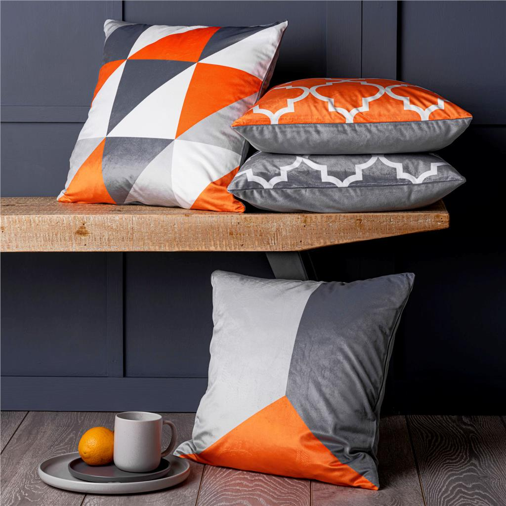 Set of 4 Orange & Grey Geometric 18