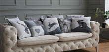 "Load image into Gallery viewer, Tartan & Patchwork 18"" Charcoal & Grey Cushion Cover Stag, Hare & Heart"
