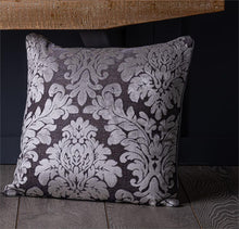 Load image into Gallery viewer, Damask Flocked Velvet 18 inch Piped Cushion Covers Silver & Grey or Gold & Beige