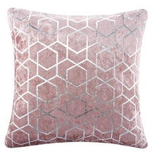 "Load image into Gallery viewer, Metallic Geometric Crushed Velvet Blush Pink or Silver 18"" Sparkle Cushion Cover"