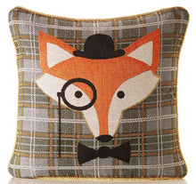 "Load image into Gallery viewer, Tapestry Tartan Fox 18"" / 45 cm Cushion Cover 2 Designs  Orange, Cream, Gold & Green"
