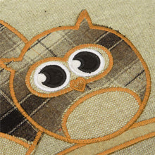 "Load image into Gallery viewer, Set of 4 Cute Tartan Owl & Latte Natural Tartan 18"" / 45 cm Cushion Covers"
