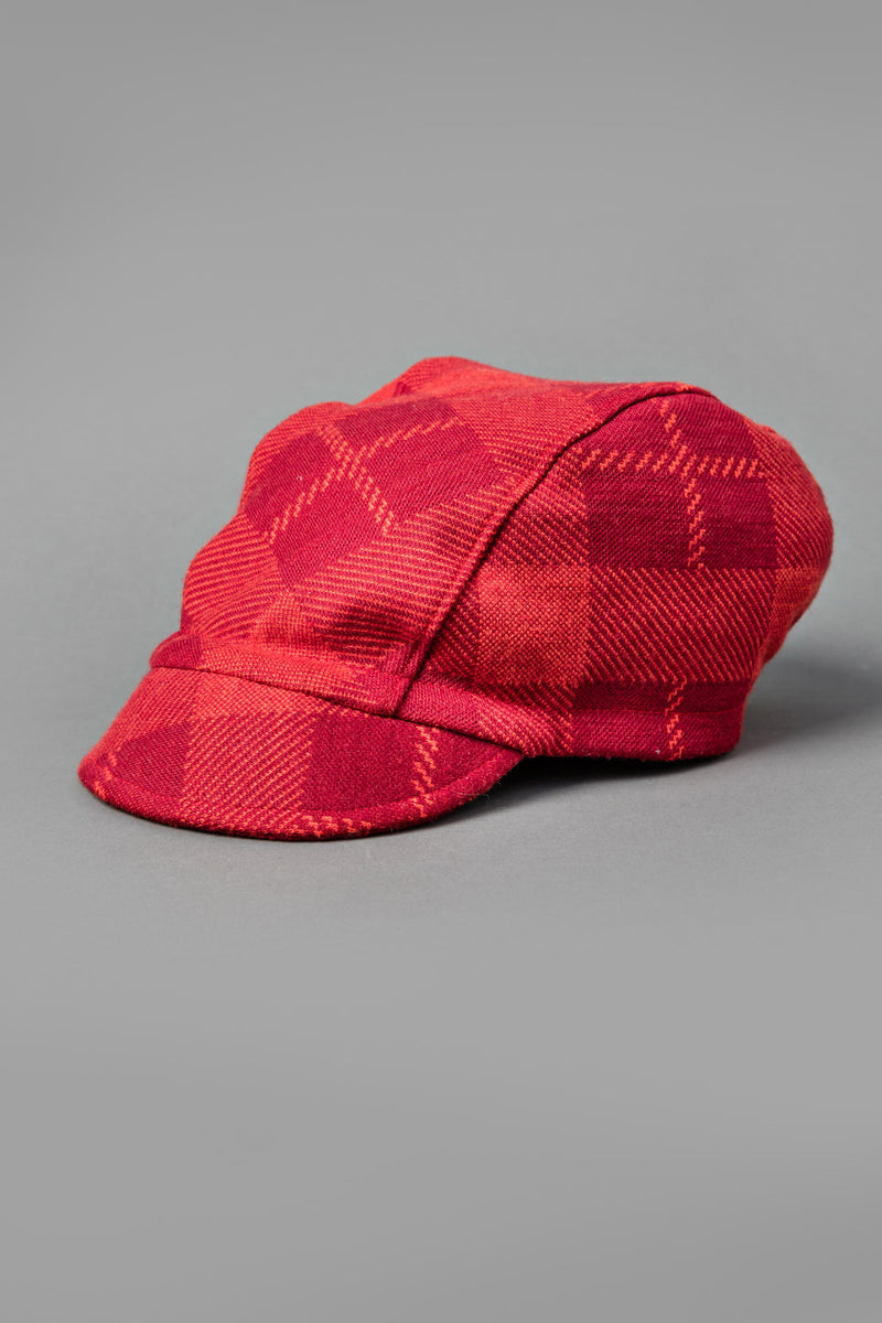 Red Tartan Stiff Brim 3 Panel Cap