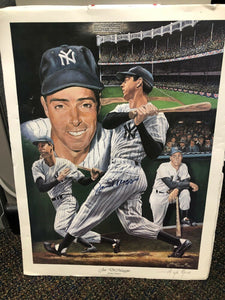MLB 1994 NEW YORK YANKEES SIGNED JOE DIMAGGIO ANGELO MARINO LITHOGRAPH 24x20