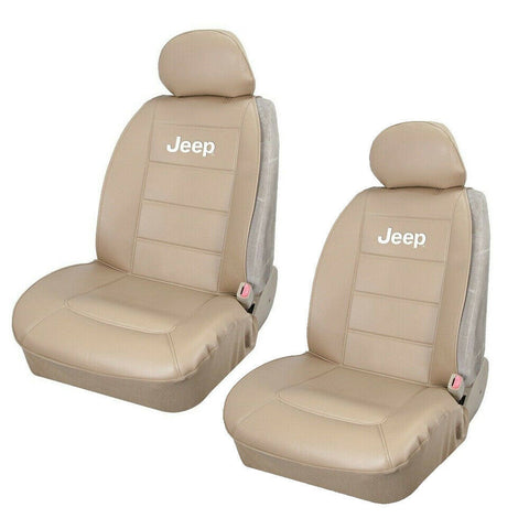JEEP Elite Tan Synthetic Leather Car/Truck/Suv Front Sideless Seat Covers Set