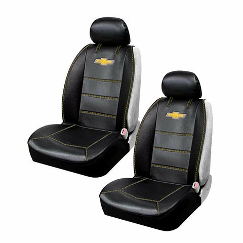 Chevy Bowtie Black Car Truck Suv 2 Front Synthetic Leather Side Seat Covers