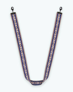 Blue White Embroidered Mask Lanyard