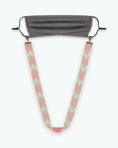 Ivory Grey Chevron Mask Lanyard