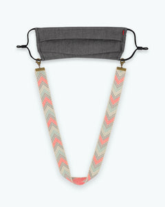 Youth Ivory Grey Chevron Mask Lanyard