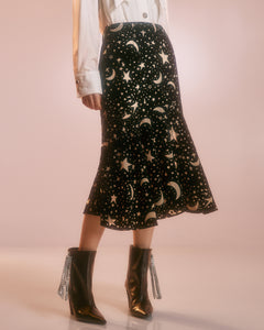 Starry Print Fishtail Skirt