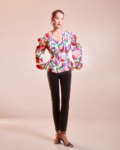 Floral Blouse with Puff Sleeves