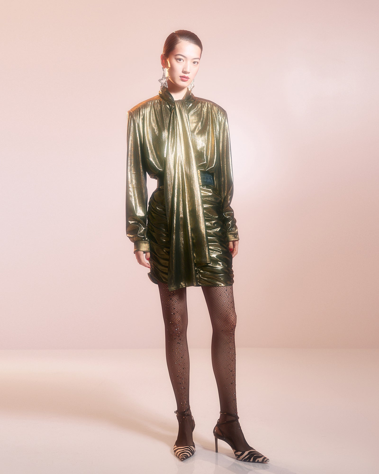 Gold Lame 80s Style Dress