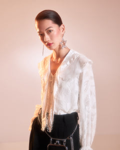 White Lace Shirt with Double Collar