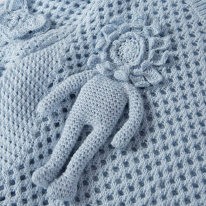 Blush-Blue Pullover with Hand-Crochet Detail