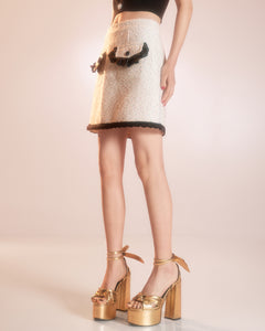 White Tweed Skirt with Black Lace Trim