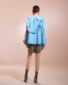 Blue Frill Blouse