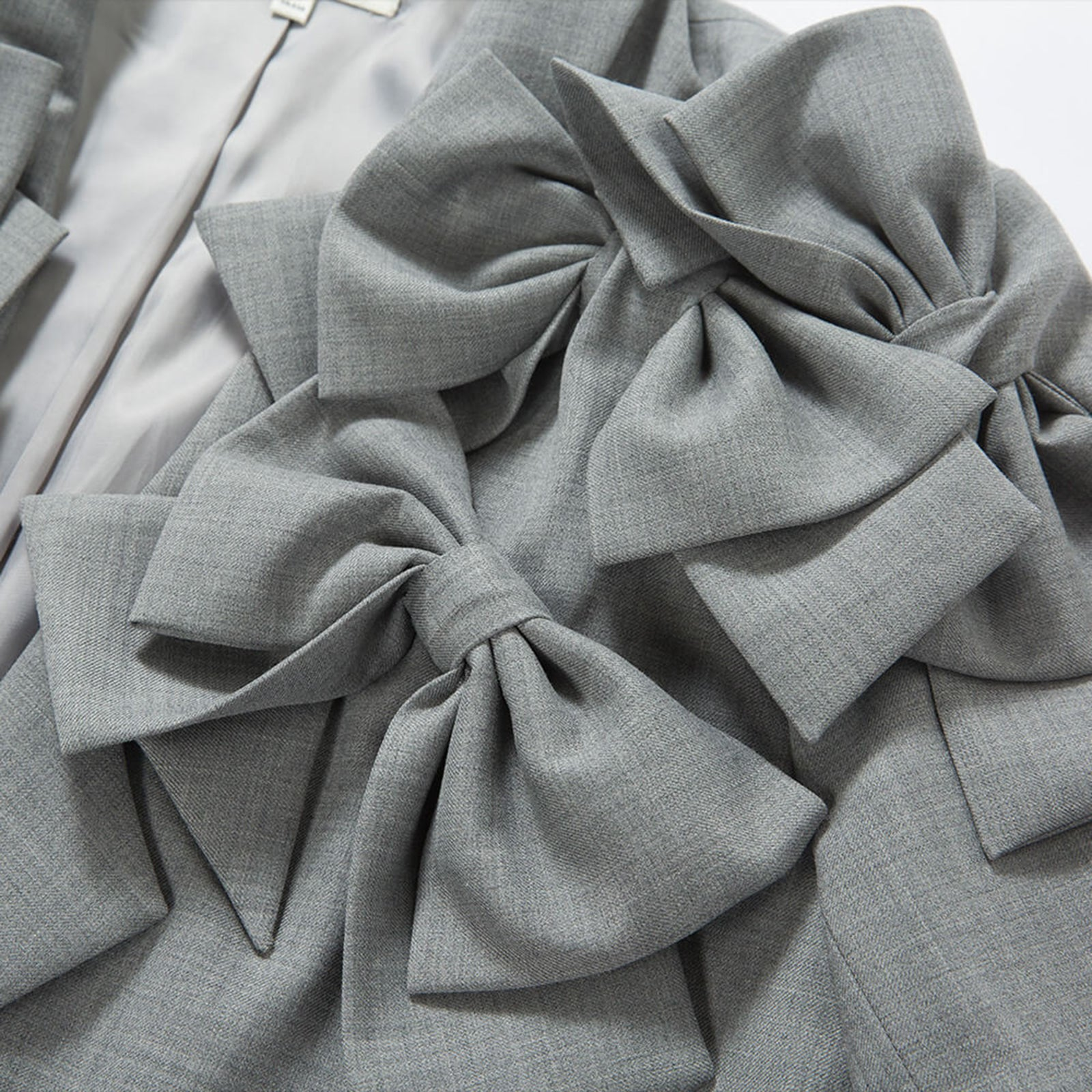 Grey Suit Jacket with Bows