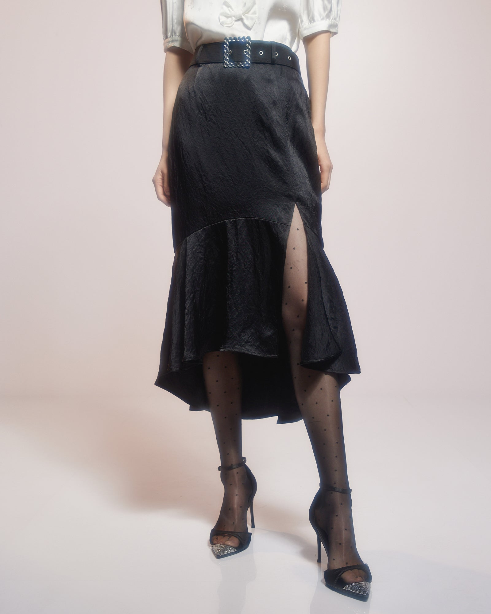 Black Satin Fishtail Skirt