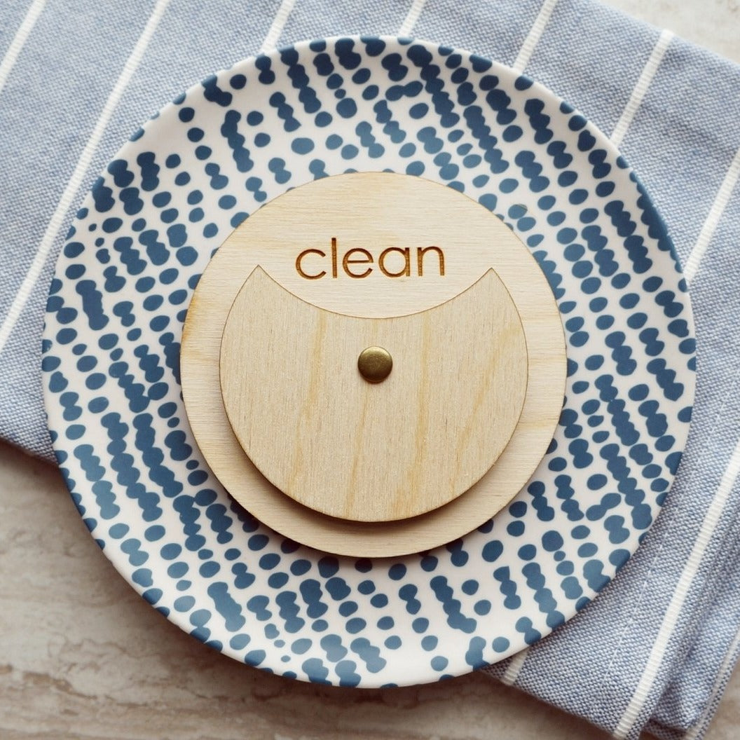Birch Wood Circle Clean Dirty Dishwasher Magnet Sign For Modern Kitchen