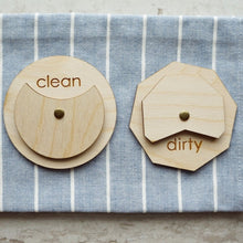 Load image into Gallery viewer, black acrylic clean dirty dishwasher magnet sign from the tulle box / modern magnet