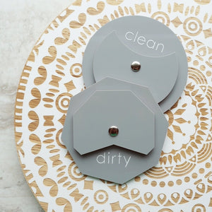 Acrylic Octagon Clean Dirty Dishwasher Magnet Sign For Modern Kitchen