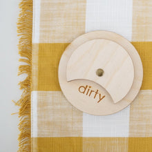Load image into Gallery viewer, BIRCH WOOD clean dirty dishwasher magnet sign from the tulle box / modern magnet
