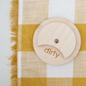 BIRCH WOOD clean dirty dishwasher magnet sign from the tulle box / modern magnet