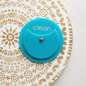 Turquoise Acrylic Circle Clean Dirty Dishwasher Magnet Sign For Modern Kitchen