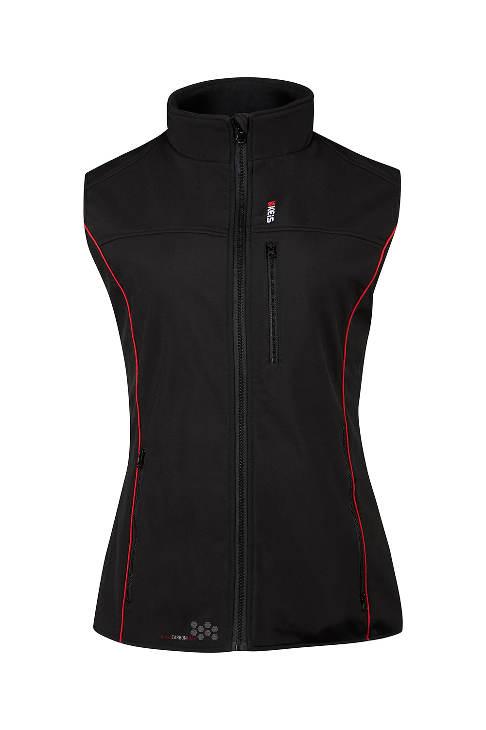 Keis ladies bodywarmer balck with red piping down front
