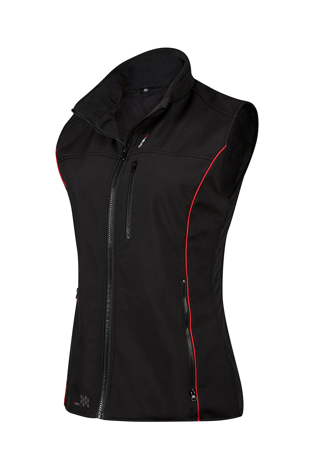 Keis ladies bodywarmer black with red piping